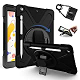 TH000 2019 Rugged Cover for iPad 7th Generation Case 10.2 inch Shockproof Heavy Duty Triple Layer Protective Tough Bumper Shell with Pen Holder Stand & Shoulder Strap