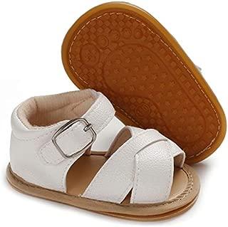 Meckior Baby Toddler Infant Girls PU Leather Soft Closed Toe Summer Sandals Flower Princess Flat Shoes Beige Size: 12-18 Months Toddler