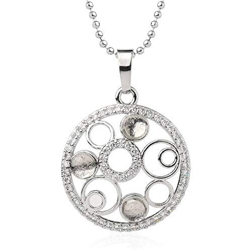 Necklace For Women,Vintage Punk Reiki 7 Chakra Natural Gem White Clear Crystal Stone 4Mm Tiny Micro Inlay Zircon Multi-Circle Round Hollow Pendant Necklaces With Silver Chain Christmas Party Gift