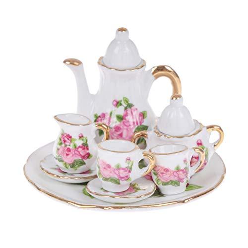 TBoxBo 8 piezas 1/12 casa de muñecas miniatura porcelana vajilla cerámica floral té tazas Set juguetes miniatura plato taza plato comedor artículos decoración casa de muñecas accesorios cocina