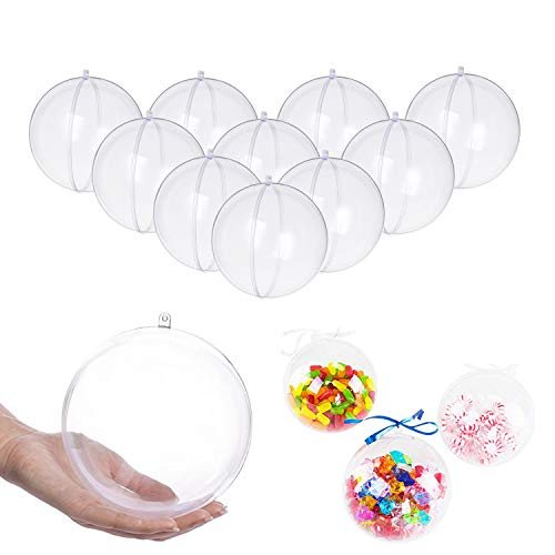 UNIQLED Clear Plastic Fillable Christmas DIY Craft Ball Ornament - Pack of 10 (80mm)