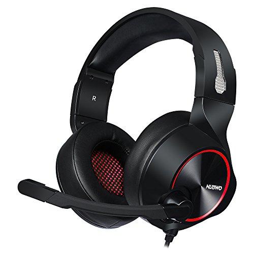 LIMTT gaming headset voor pc, headset met microfoon voor ruisonderdrukking, hoofddouche met volume USB Zwart Rood