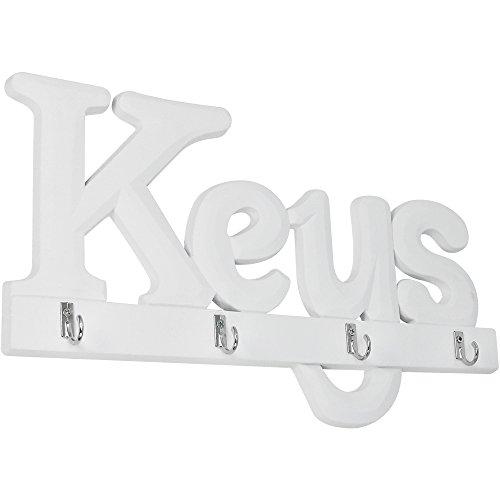 """COM-FOUR® Schlüsselbrett """"Keys"""", Schlüsselleiste aus Holz mit 4 Haken, 33 x 19 cm"""