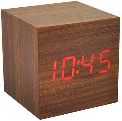 icase4u® usb cubo de madera retro voz alarma de control temperatura digital LED reloj de