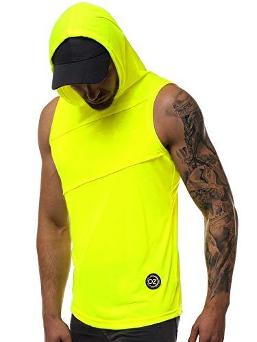 OZONEE Herren Tank Top Tanktop Kapuze Tankshirt Ärmellos Bodybuilding Shirt Unterhemd T-Shirt Tshirt Tee Muskelshirt Achselshirt Trägershirt Ärmellose Training 777/5620BO GELB-NEON XL