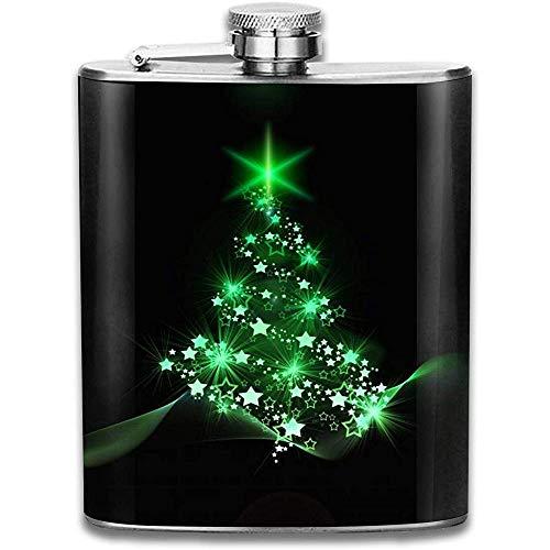 Grüne Weihnachtsbaum Neujahr Mode Tragbare 304 Edelstahl Auslaufsicher 7 Unzen Topf Flachmann Reise Camping Flagon Glaskolben Kleines Geschenk