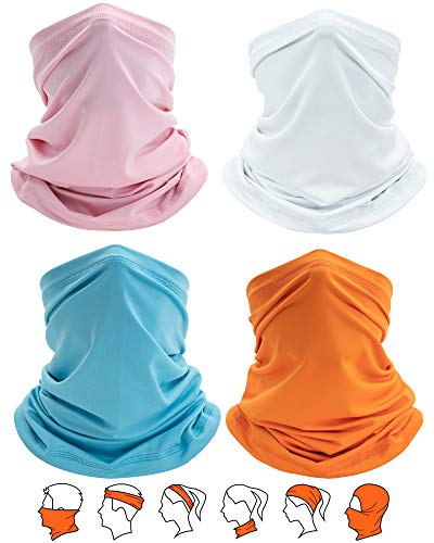 Yemo [4 Pack] Unisex Sun UV Protection Cooling Face Scarf Cover Mask Neck Gaiter, Headband Fishing Mask, Reusable Breathable Bandana Balaclava, Motorcycle Face Cover for Men Women (4 Solid-1)