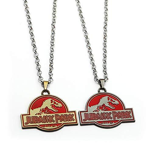Alushisland Classique Jurassic Park Film Jurassik Monde thème Logo Dinosaure Pendentif Collier Porte-clés Bijoux pour Fans Cadeau