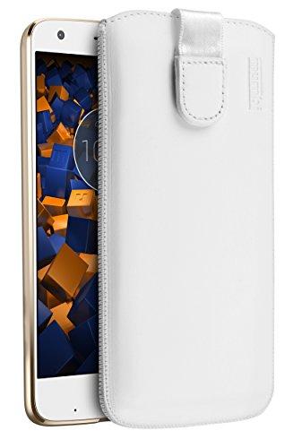 mumbi Echt Ledertasche kompatibel mit Motorola Moto Z2 Force Hülle Leder Tasche Hülle Wallet, Weiss