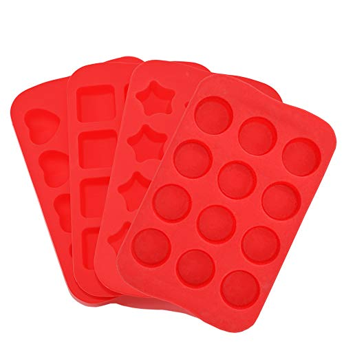 Candy Chocolate Molds Silicone 4 Pack DIY Mold Use for Cake Jelly Gummy Pudding and Ice Cube Tray Including Hearts Stars Squares Round Mini Muffin Pan