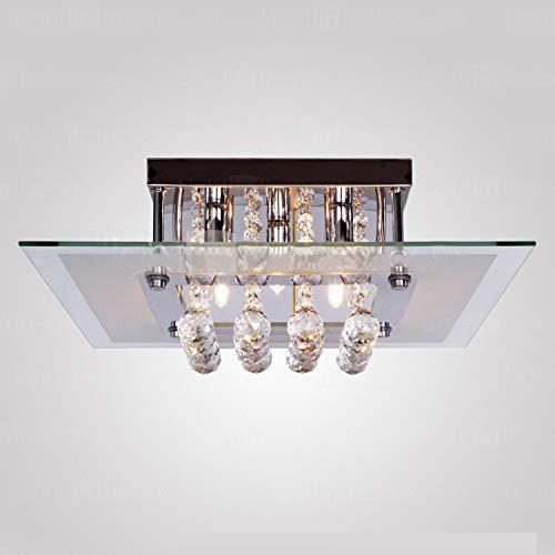 Moderne Quadratische Kristall Kronleuchter, JJGD K9 Glas Kristall Deckenleuchten Unterputz Chrom LED Pendelleuchte für Esszimmer Wohnzimmer Schlafzimmer Treppe, Größe L40cm B40cm H17.5cm (Weiß)
