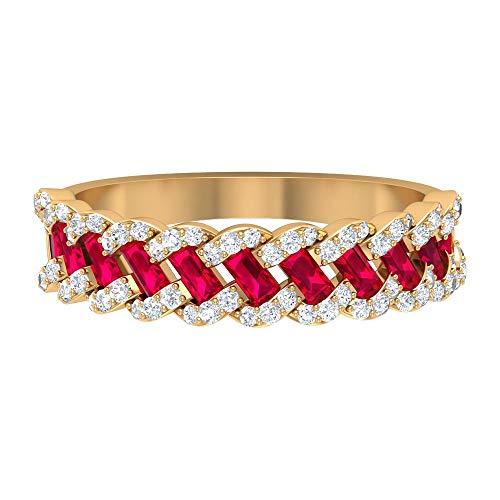 Anillo de boda trenzado, 0,79 quilates, corte baguette, anillo de diamante redondo HI-SI 1/4 quilates, anillo de aniversario vintage, anillo de eternidad antiguo, 14K Oro amarillo, Size:EU 57