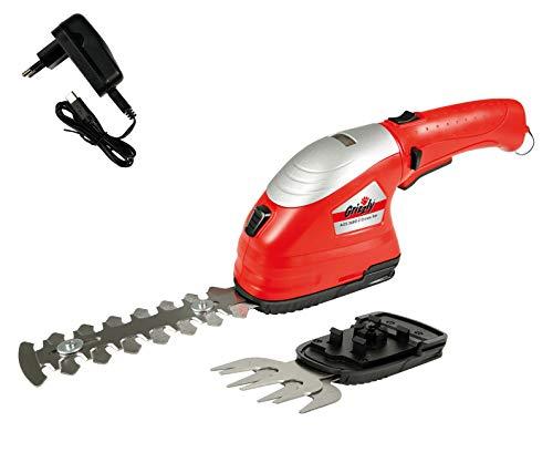 Grizzly Tools 2-in-1 Akku Gras- und Strauchscheren Set AGS 3680-2 D-Lion - integrierter Akku und USB-Schnellladegerät - Ladezeit 1h- werkzeugloser Scherenwechsel - drehbarer Schneidkopf