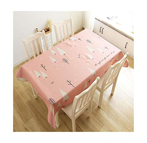 KnSam Rectangle Tablecloth Cotton Linen Fabric, Kitchen Tablecloth Washable Oil-Proof 140x180CM Trees Tablecloth Dining Room Table Pink White