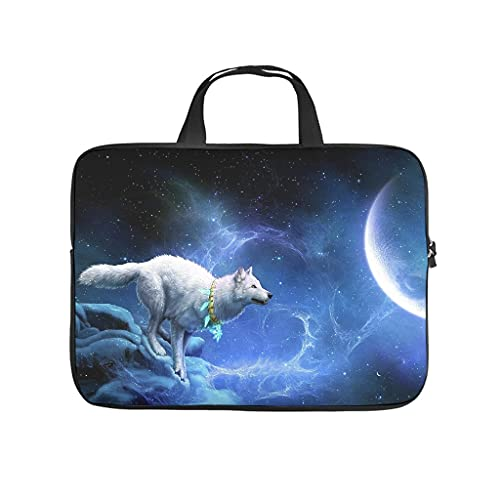 Night Sky Moon Wolf 3D Print Laptop Bag Protective Case Lightweight Neoprene Laptop Bag Sleeve Case for Girls Boys