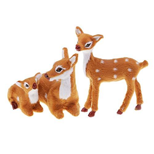 Generic Christmas Deer Figures Ornament Plush Sika Deer Model Holiday Decorations