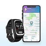 SeniorDomo Protect - Reloj teleasistencia localizador GPS y botón de Ayuda SOS (Negro)