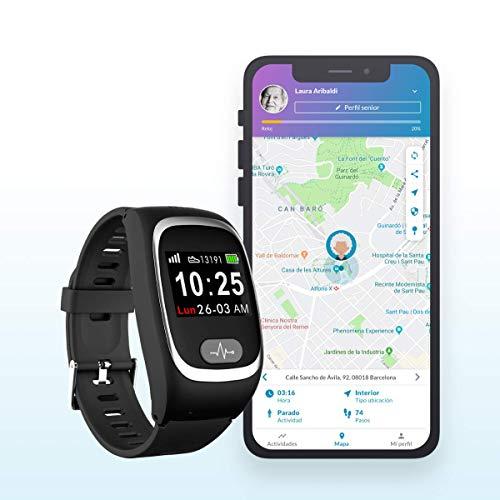 SeniorDomo Protect - Reloj localizador GPS y botón de Ayuda SOS Personas Mayores/Alzheimer (Negro)