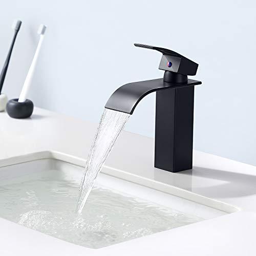 Auralum Grifo lavabo,Grifo de lavabo en cascada,Grifos de lavabo monomando (negro)