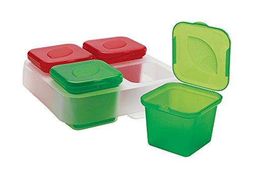 Snips 033060 CONTENTORI Monodose CONGELA SUGHI E AROMI-Set 4 Pezzi da 100 ml, Verde e Rosso