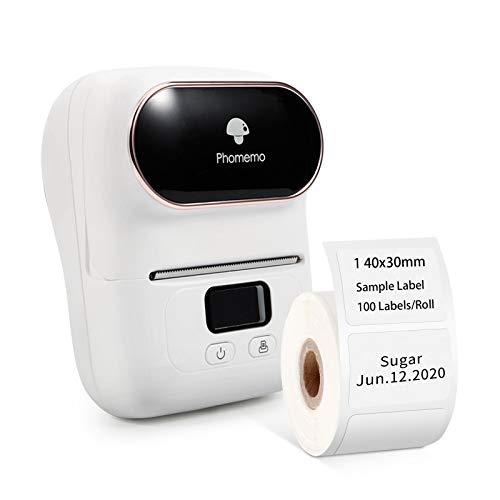 Phomemo M110 Etikettendrucker Mini Bluetooth Drucker, Thermodrucker, Etikettendrucker Selbstklebend, Kompatibel für Android&iOS, Geeignet für Kleidung, Supermarkt, Schmuck und mehr, Weiß