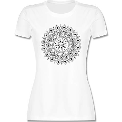 Kunst & Kreativität - Boho Mandala Yoga Sketch - M - Weiß - Namaste Shirt Damen - L191 - Tailliertes Tshirt für Damen und Frauen T-Shirt