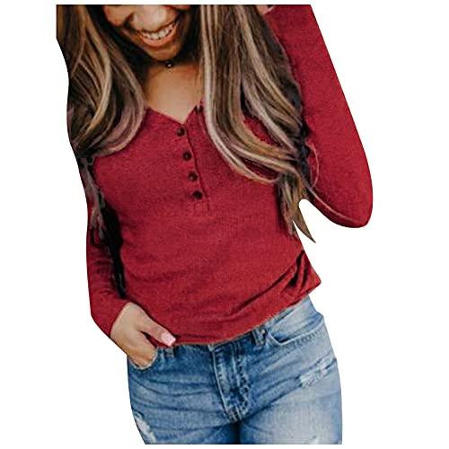 UEsent Jersey de punto para mujer, para otoño e invierno, modelo de manga larga, cuello en V, largo, estrecho, de un solo color, túnica, de color naranja, vino y negro, Vino, XXL