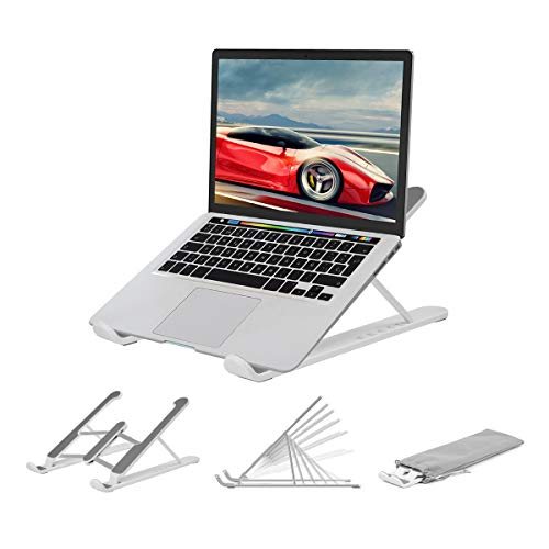Laptop Tablet Ständer,Notebook Ständer Tragbarer Faltbar Höhenverstellbar,Laptop Halterung Kompatibel Für MacBook Pro/Air HP Dell Lenovo Samsung Acer Huawei Alle 10-15.6 Zoll Notebooks (Weiß)