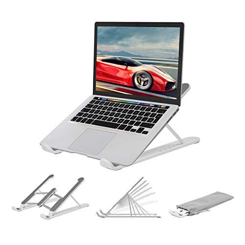 Laptop Tablet Ständer,Notebook Ständer Tragbarer Faltbar Höhenverstellbar,Laptop Halterung Kompatibel Für MacBook Pro/Air HP Dell Lenovo Samsung Acer Huawei Alle 10-15.6 Zoll Notebooks (Weiß)