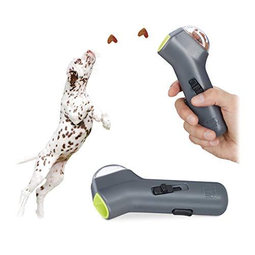Relaxdays 2X Leckerli Pistole, interaktives Hundespielzeug, Hunde & Welpen, Futter, Belohnung & Training, Leckerlie Werfer, grau