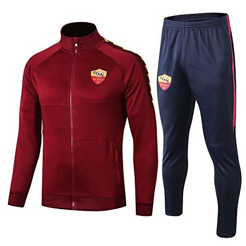 WEF A.S.Roma Club Herren Fußball Langarmtrikot Sportbekleidung Trainingsanzug Wettkampfanzug Herbst Outdoor Sportjacke 2er-Set S-2XL Fútbol Ropa Red-M