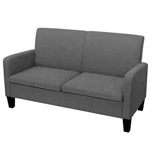 vidaXL Sofa 2-Sitzer Zweisitzer Stoffsofa Polstersofa Loungesofa Sitzmöbel Polstermöbel Designsofa Wohnzimmersofa Dunkelgrau 135x65x76cm