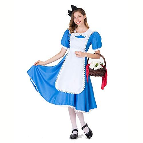 FIZZENN El Traje de Cosplay de Las Mujeres de Halloween Alicia del Cuento de la Criada Azul Vestido Lolita,M