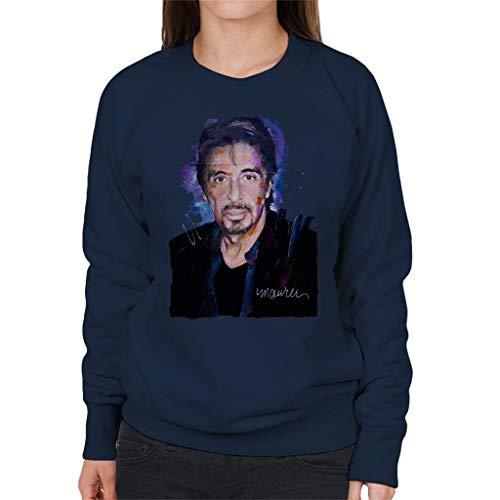 VINTRO Al Pacino Goatee Damen Sweatshirt Original Portrait von Sidney Maurer professionell bedruckt Gr. S, Oxford Navy