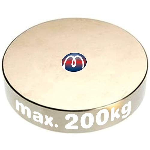 Aimant rond Disque magnétique Ø 70 x 10mm Néodyme N45 (NdFeB) Nickelé - Force d'adhérence 200 kg - Aimant circulaire en Néodyme super puissant