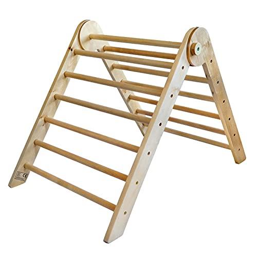 Piklino Kletterdreieck nach Pikler Art aus Holz, klappbar | Indoor Klettergerüst für Kinder und Babys ab 8 Monaten 69x 94x 61 cm groß | Zur Entwicklung grobmotorischer Fähigkeiten | Birkenholz