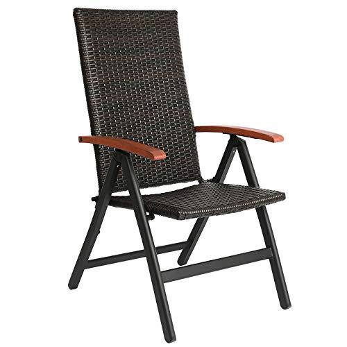 FIXKIT Klappbarer Gartenstuhl aus Rattan, 5-stufige verstellbare Liege, Outdoor-Klappstuhl mit Breiten Armlehnen, Aluminiumrahmen, geeignet für Garten, Terrasse, Strand (braun)
