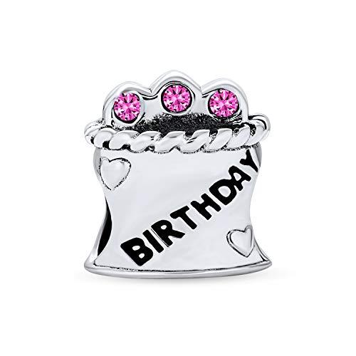Alles Gute Zum Geburtstag Kuchen Tasse Kuchen Rosa Cz Kerzen Charm Perle Für Frauen Für Teen 925 Sterling Silber Passt Europäische Armband