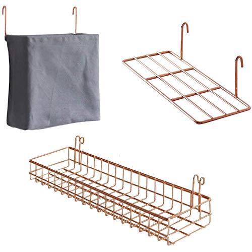 Gaoominy Rack de Almacenamiento de 3 Piezas Panel de Rejilla Pared Cesta Colgante Bolsa Estante ExhibicióN con Ganchos Organizador Pared y Estante para ArtíCulos para Hogar Oro Rosa