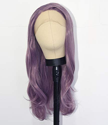 EALGA Lilac Purple Hair Wigs for Women Synthetic Hair Purple Lace Front Wigs Wavy Wig Halloween Synthetic Purple Wig 24 inch Cosplay Wig EALGA-010