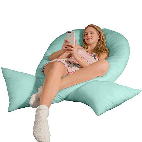 Traumreiter Jumbo XXL Seitenschläferkissen mit Bezug Mint-grün I Schwangerschaftskissen U Form Full Body Pillow Seitenschläfer Kissen für Schwangere Lagerungskissen