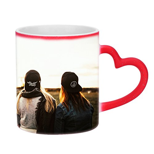 Tasse mit Wärmeeffekt Kaffeebecher Farbwechsel Becher Rot Kaffeetasse mit Thermoeffekt Teebecher Wärmeempfindliche Teetasse mit Löffel Benutzerdefinierte Farbwechseltasse für Geschenk Weihnachten