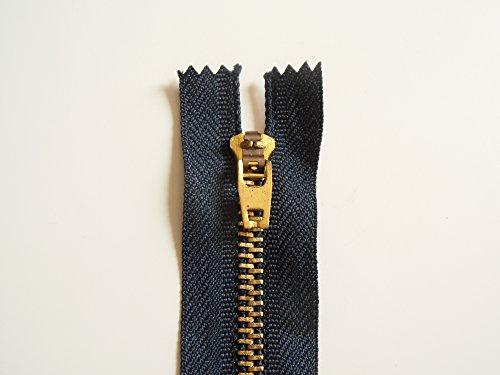 ILC MERCERIE PARADIS Fermetures Éclair pour Jeans (de 8 à 20 cm) A Glissière Maille Métallique Non séparable (Bleu Jean foncé, 15 cm)