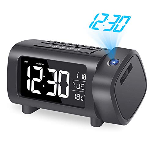 LIORQUE Projection Alarm Clock, Alarm Clocks with Projection, 180 °...