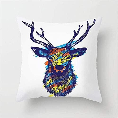 Funda de almohada con estampado de cornamenta de ciervo, diseño de animales nórdicos, estilo étnico, sofá o silla, funda de cojín decorativa de 18 x 45 cm