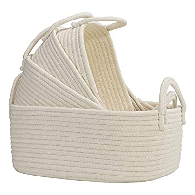 4 Set Wicker Storage Bin Baskets, Multipurpose Cotton Rope Basket Organizers with Study Handles for Baby Nursery, Laundry, Kids Toys & Stationery, Washable & Chemical Free Woven Organizer Bins, White from Asani