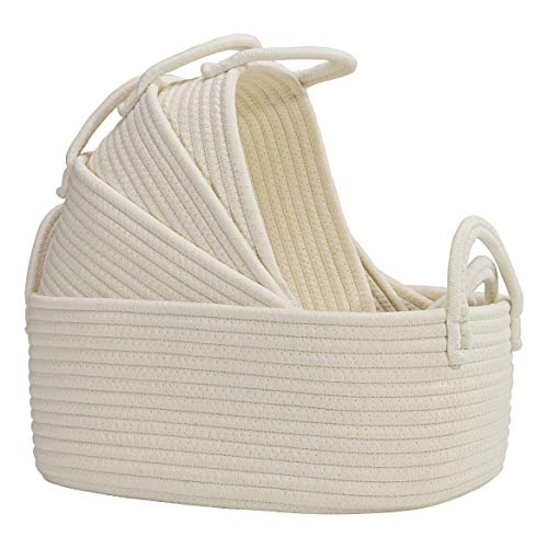 4 Set Wicker Storage Bin Baskets, Multipurpose Cotton Rope Basket Organizers with Study Handles for Baby Nursery, Laundry, Kids Toys & Stationery, Washable & Chemical Free Woven Organizer Bins, White
