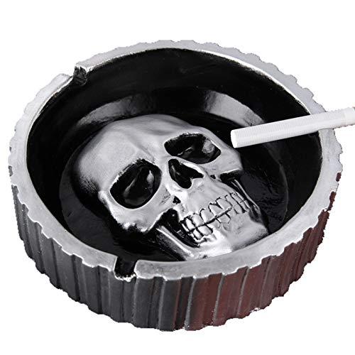 WBFZ Cenicero De Calavera, Cenicero De Pintura De Metal De Piedra Retro Creativo, Decoración De Escritorio, Cenicero De Cigarro, Cenicero De Decoración De Escritorio a Pr Silver-14.5x4.2CM