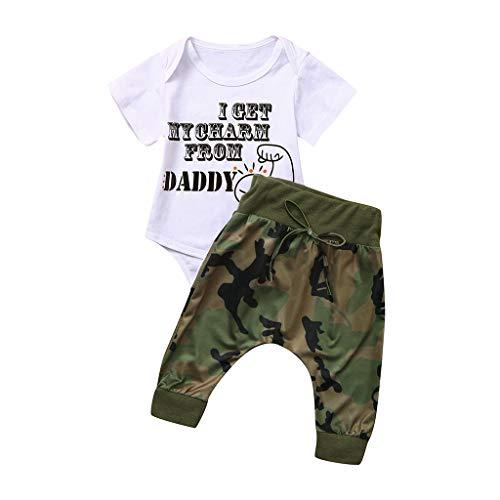 Alwayswin Sommer Babykleidung Baby Jungen & Mädchen Kurzarm Brief Drucken Tops + Gitarrenshorts Outfits Kleinkind Mode Cool T-Shirt Camouflage Shorts Outfits Wild Freizeit Kleidung