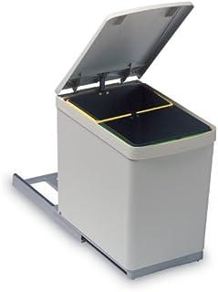 RP 283 - Papelera extraíble con 2 cubos de 7,5 litros para reciclaje separado, deslizable